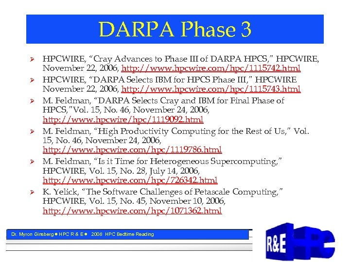 "DARPA Phase 3 Ø Ø Ø HPCWIRE, ""Cray Advances to Phase III of DARPA"