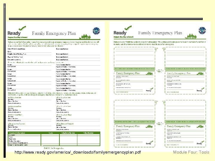 http: //www. ready. gov/america/_downloads/familyemergencyplan. pdf Module Four: Tools