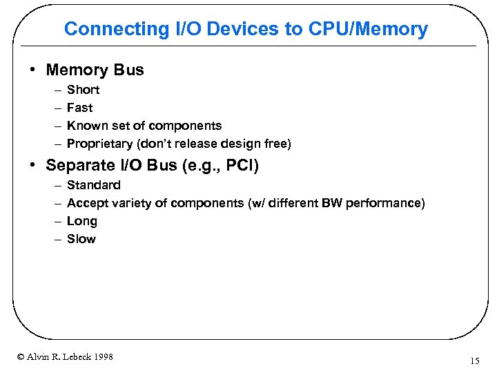 Connecting I/O Devices to CPU/Memory • Memory Bus – – Short Fast Known set