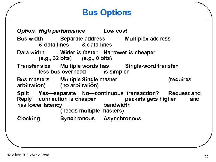 Bus Option High performance Low cost Bus width Separate address Multiplex address & data