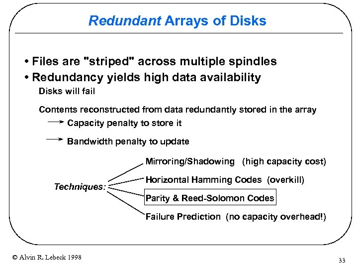 Redundant Arrays of Disks • Files are