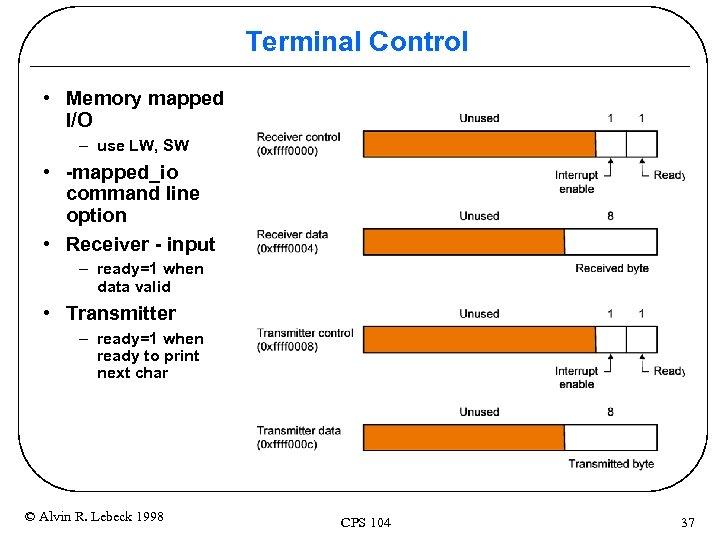 Terminal Control • Memory mapped I/O – use LW, SW • -mapped_io command line