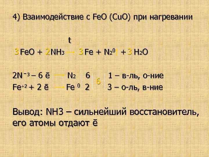 4) Взаимодействие с Fe. O (Cu. O) при нагревании t 3 Fe. O +