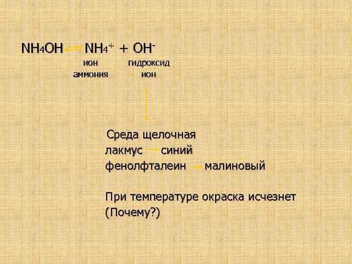 NH 4 OH NH 4+ + OHион аммония гидроксид ион Среда щелочная лакмус синий