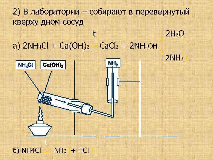 2) В лаборатории – собирают в перевернутый кверху дном сосуд t 2 H 2