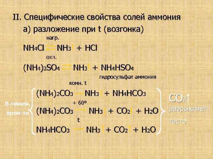 II. Специфические свойства солей аммония а) разложение при t (возгонка) нагр. NH 4 Cl