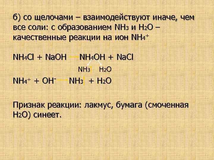 б) со щелочами – взаимодействуют иначе, чем все соли: с образованием NH 3 и