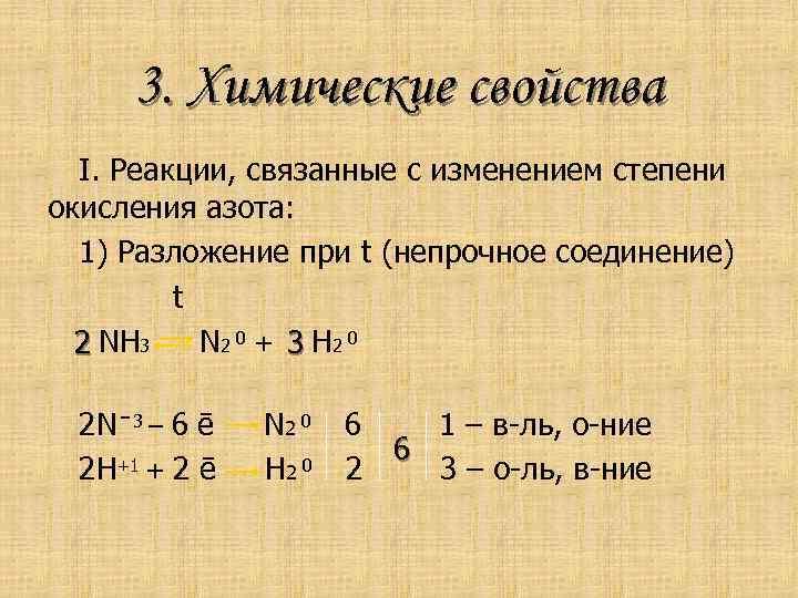 3. Химические свойства I. Реакции, связанные с изменением степени окисления азота: 1) Разложение при