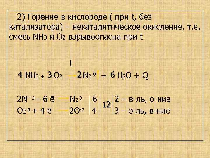 2) Горение в кислороде ( при t, без катализатора) – некаталитическое окисление, т. е.