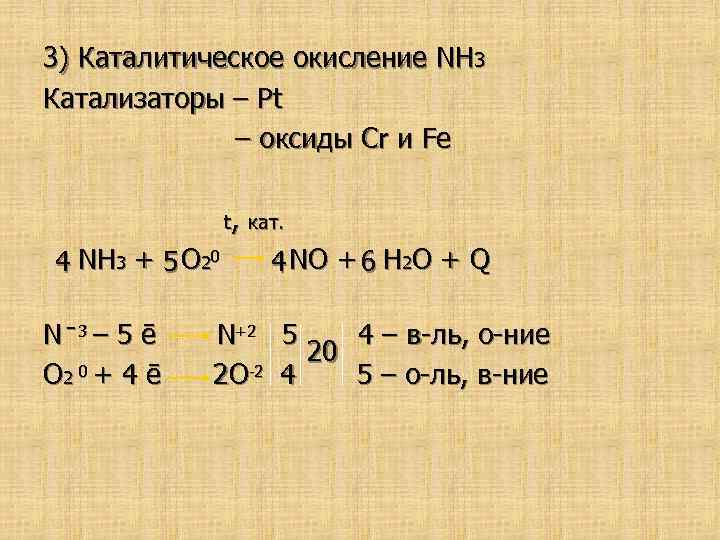 3) Каталитическое окисление NH 3 Катализаторы – Pt – оксиды Cr и Fе t,