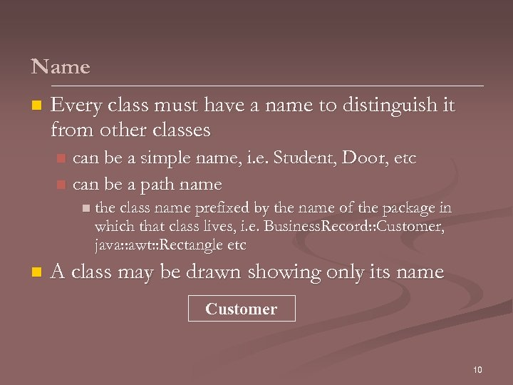Name n Every class must have a name to distinguish it from other classes