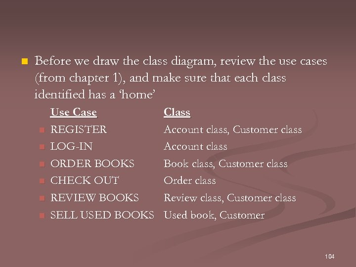 n Before we draw the class diagram, review the use cases (from chapter 1),