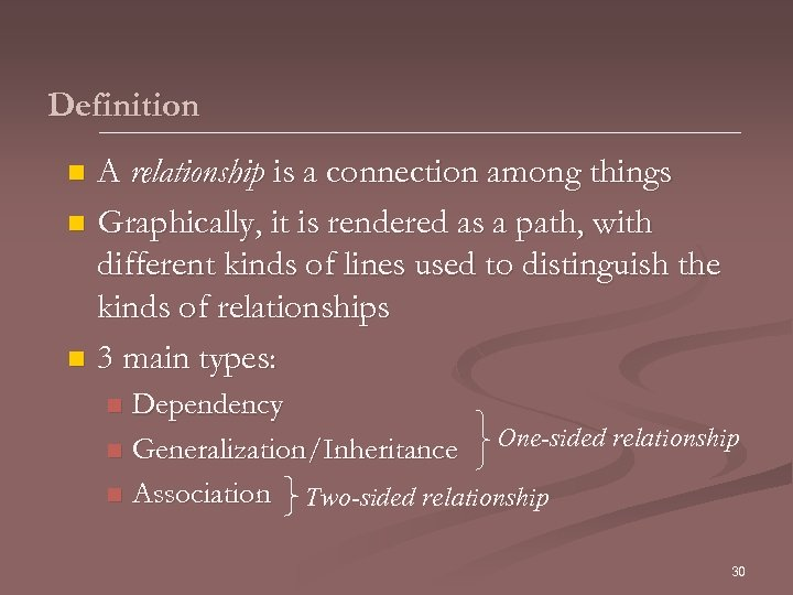 Definition A relationship is a connection among things n Graphically, it is rendered as