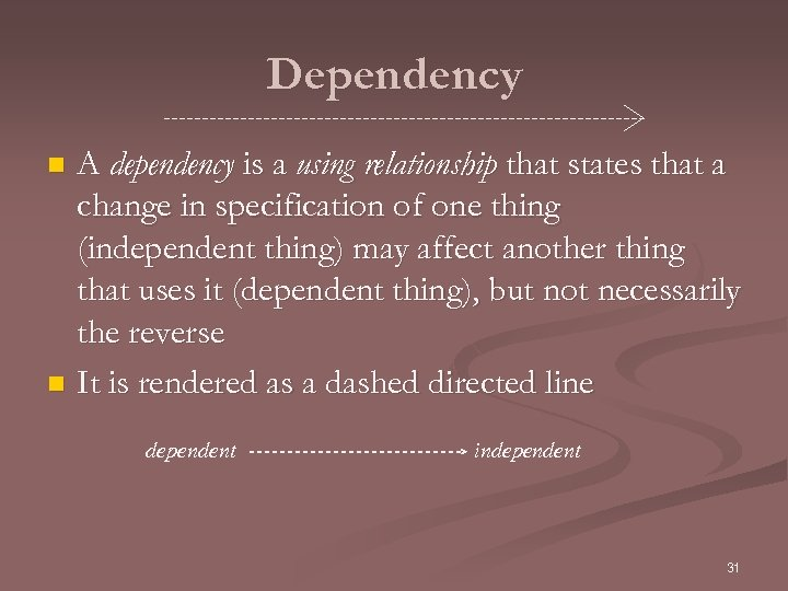 Dependency A dependency is a using relationship that states that a change in specification