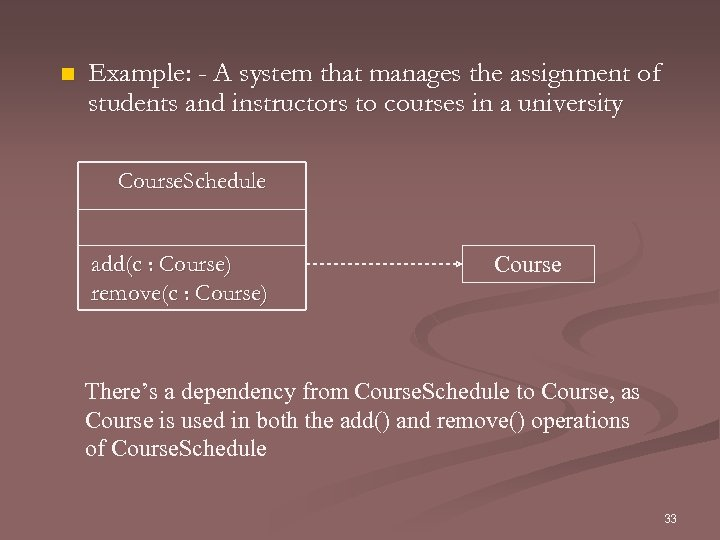 n Example: - A system that manages the assignment of students and instructors to