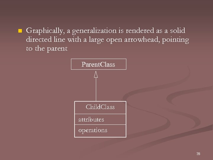 n Graphically, a generalization is rendered as a solid directed line with a large