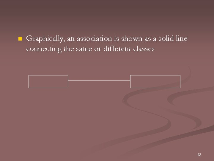 n Graphically, an association is shown as a solid line connecting the same or