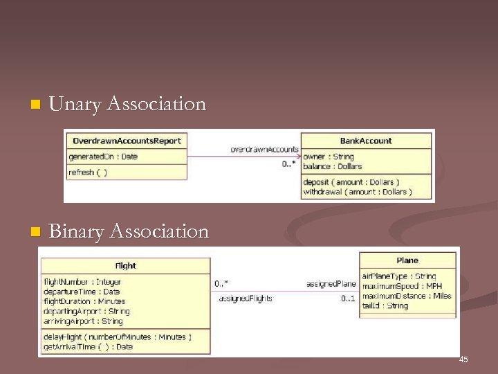 n Unary Association n Binary Association 45