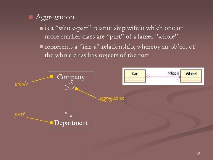 "n Aggregation n is a ""whole-part"" relationship within which one or more smaller class"