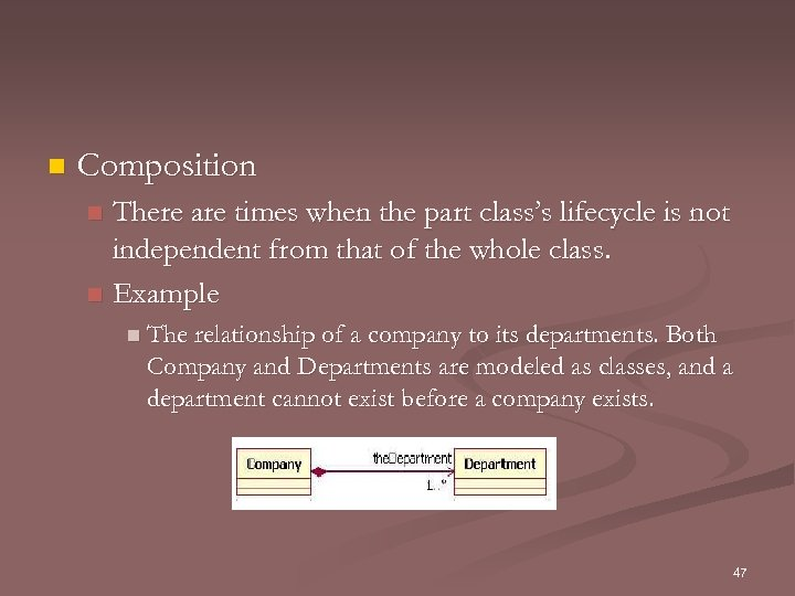 n Composition There are times when the part class's lifecycle is not independent from