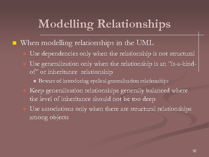 Modelling Relationships n When modelling relationships in the UML n n Use dependencies only