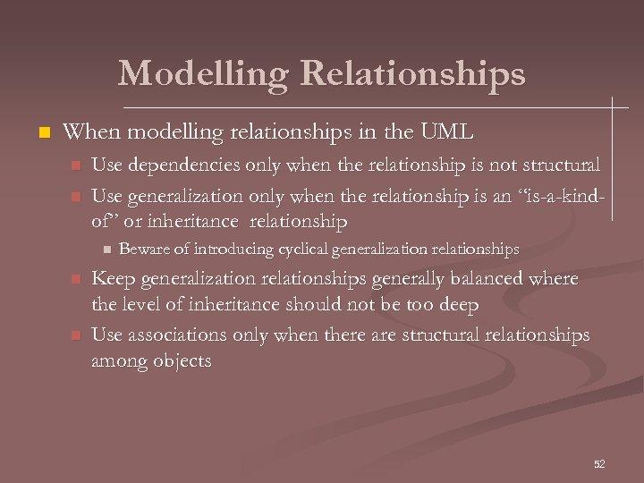 Modelling Relationships n When modelling relationships in the UML n n Use dependencies only