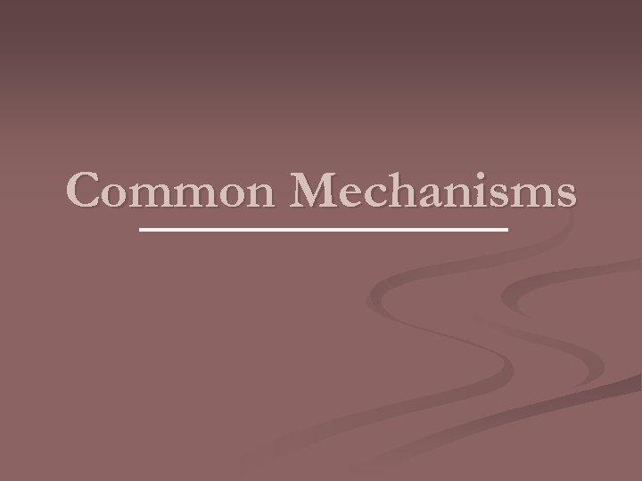 Common Mechanisms