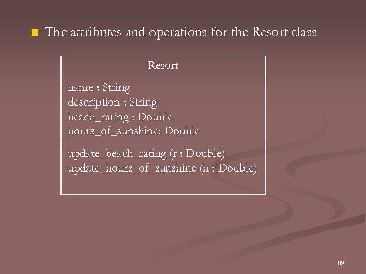 n The attributes and operations for the Resort class Resort name : String description