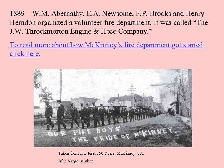 1889 – W. M. Abernathy, E. A. Newsome, F. P. Brooks and Henry Herndon