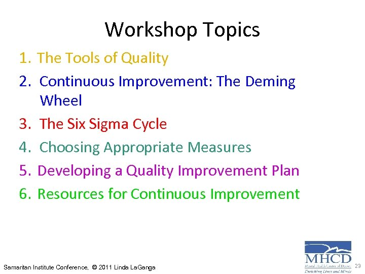 Workshop Topics 1. The Tools of Quality 2. Continuous Improvement: The Deming Wheel 3.