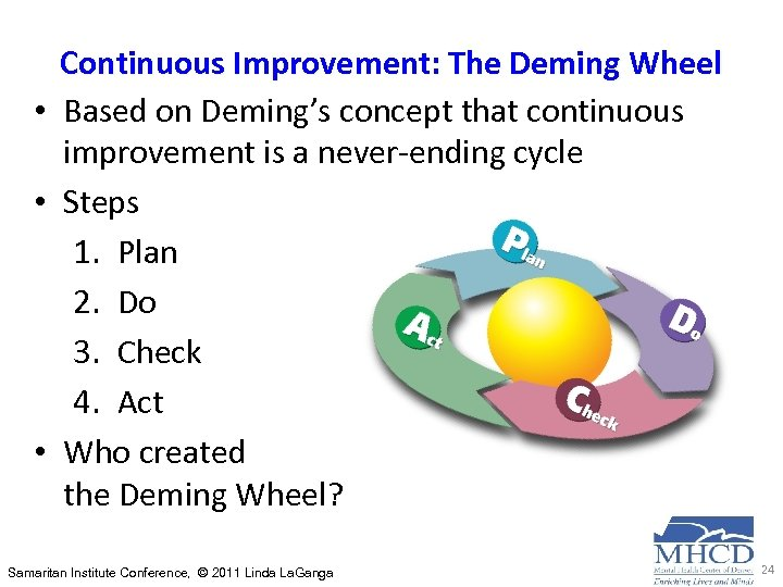 Continuous Improvement: The Deming Wheel • Based on Deming's concept that continuous improvement is