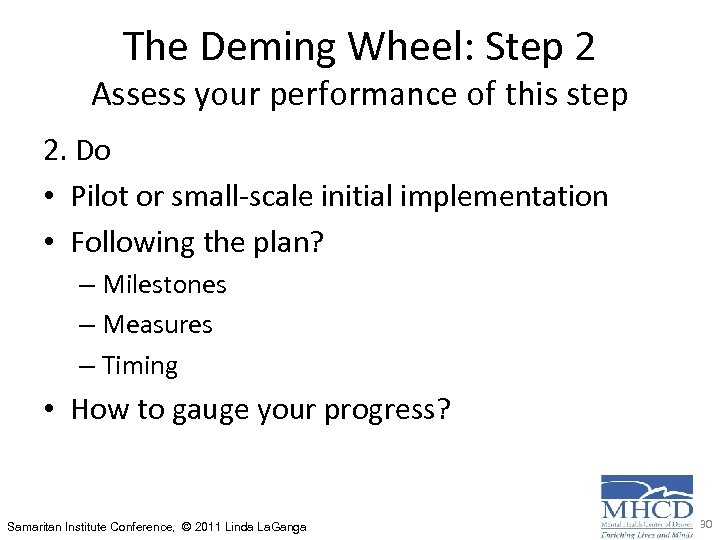The Deming Wheel: Step 2 Assess your performance of this step 2. Do •
