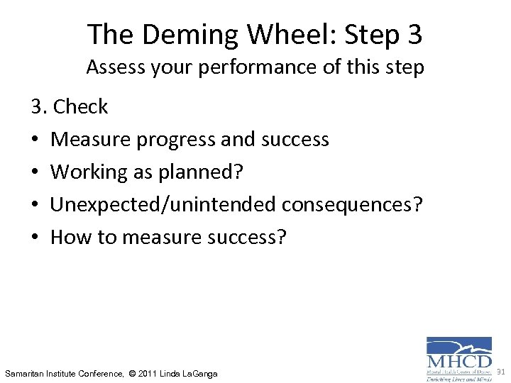 The Deming Wheel: Step 3 Assess your performance of this step 3. Check •