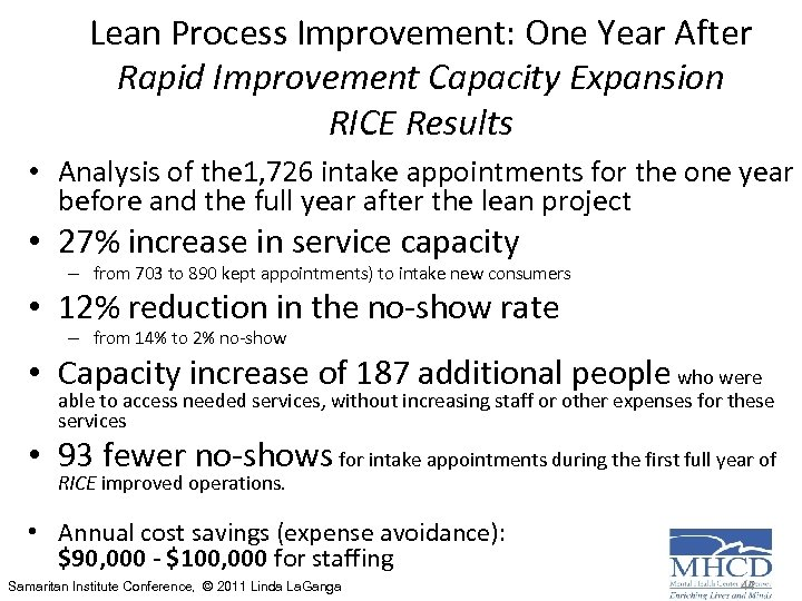 Lean Process Improvement: One Year After Rapid Improvement Capacity Expansion RICE Results • Analysis