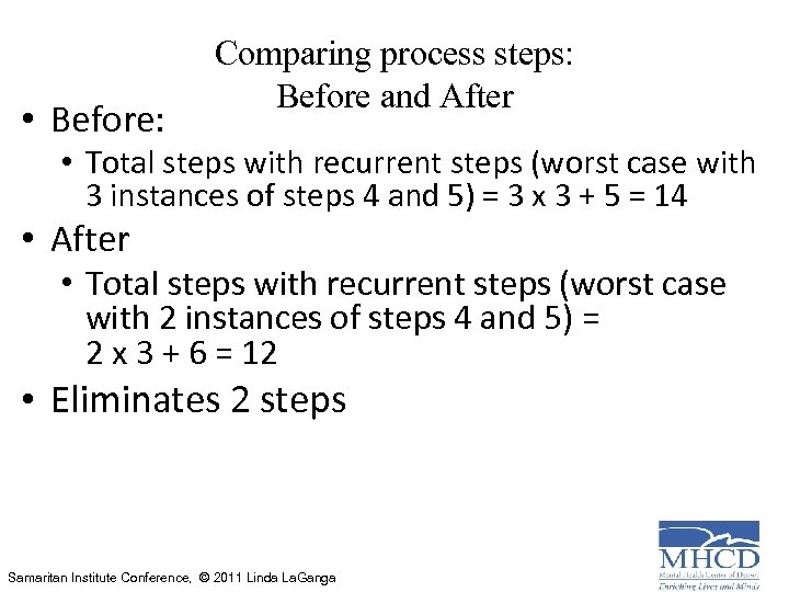 • Before: Comparing process steps: Before and After • Total steps with recurrent