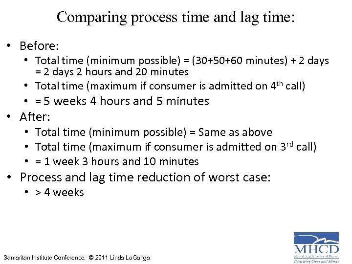 Comparing process time and lag time: • Before: • Total time (minimum possible) =