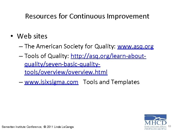 Resources for Continuous Improvement • Web sites – The American Society for Quality: