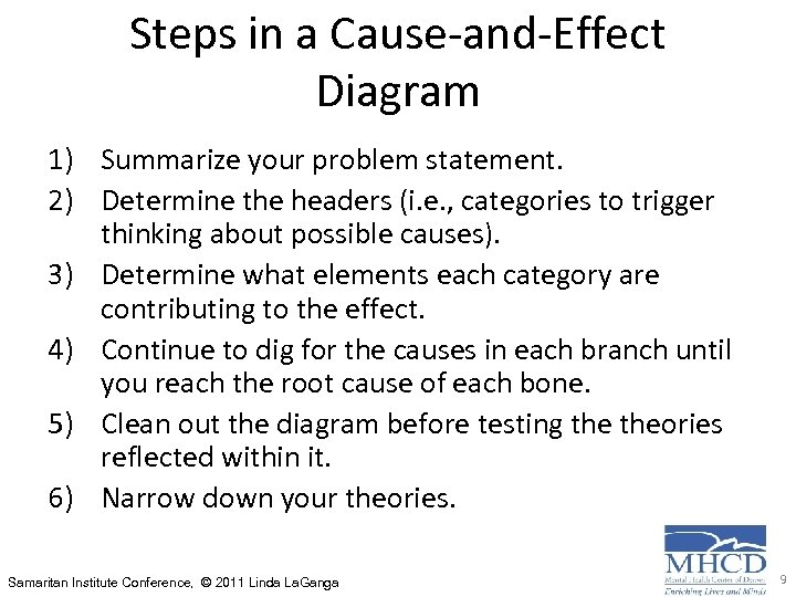 Steps in a Cause-and-Effect Diagram 1) Summarize your problem statement. 2) Determine the headers