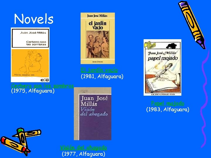 Novels El jardín vacío (1981, Alfaguara) Cerbero son las sombras (1975, Alfaguara) Papel mojado