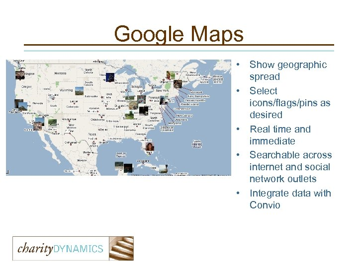 Google Maps • Show geographic spread • Select icons/flags/pins as desired • Real time