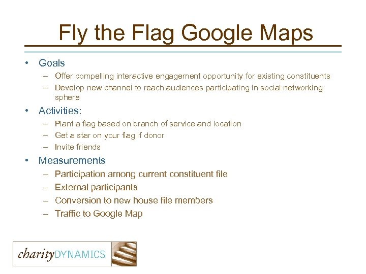 Fly the Flag Google Maps • Goals – Offer compelling interactive engagement opportunity for