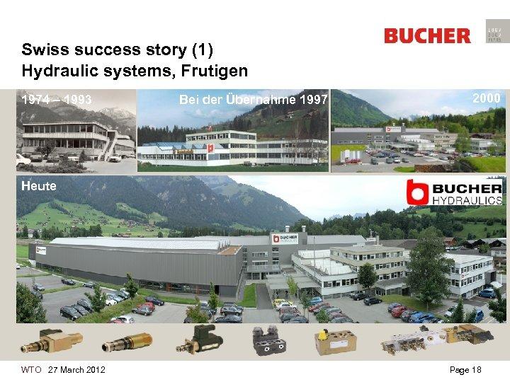 Swiss success story (1) Hydraulic systems, Frutigen 1974 – 1993 Bei der Übernahme 1997