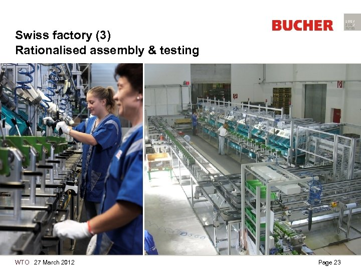 Swiss factory (3) Rationalised assembly & testing WTO 27 March 2012 Page 23