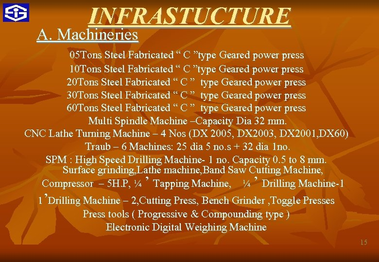 """INFRASTUCTURE A. Machineries 05 Tons Steel Fabricated """" C """"type Geared power press 10"""