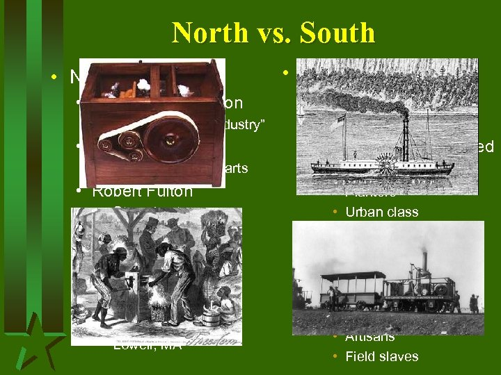 "North vs. South • North • Industrial Revolution • End of ""cottage industry"" •"