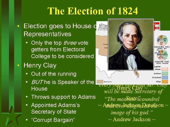 The Election of 1824 • Election goes to House of Representatives • Only the