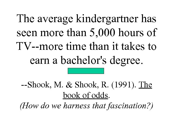 The average kindergartner has seen more than 5, 000 hours of TV--more time than