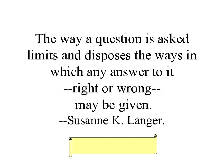The way a question is asked limits and disposes the ways in which any