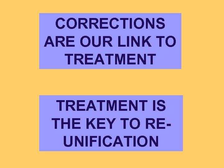 CORRECTIONS ARE OUR LINK TO TREATMENT IS THE KEY TO REUNIFICATION