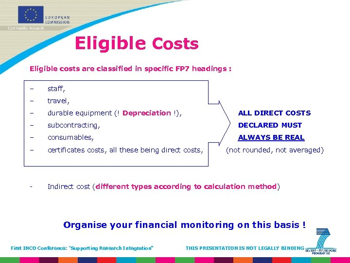 Eligible Costs Eligible costs are classified in specific FP 7 headings : – staff,